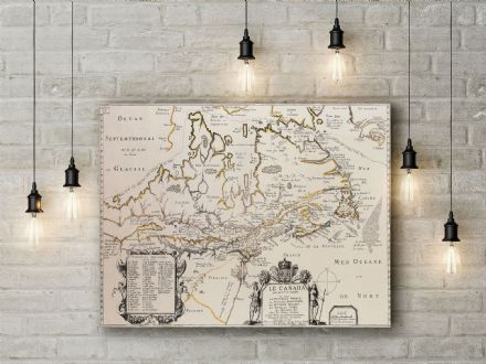 Samuel De Champlain: Map of Canada. Fine Art Canvas.